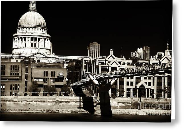 Lack And White Greeting Cards - Vintage Millennium Bridge Greeting Card by John Rizzuto