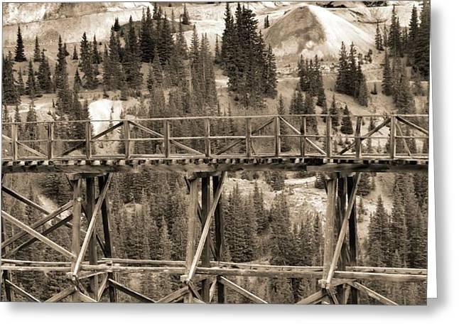 Pandora Greeting Cards - Vintage Mining Trestle Greeting Card by Dan Sproul