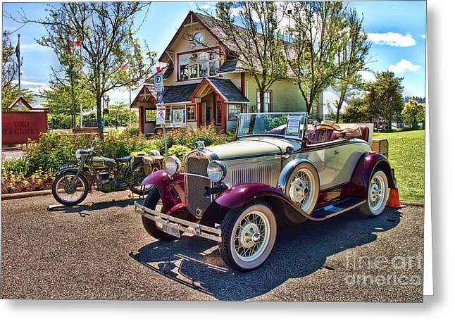 West Vancouver Greeting Cards - Vintage Model A Ford with Motorcyle Greeting Card by David Smith