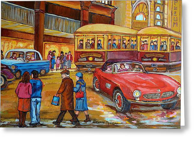 Ste Catherine Greeting Cards - Vintage Montreal-st.catherine And Union-couples And Streetcars Greeting Card by Carole Spandau