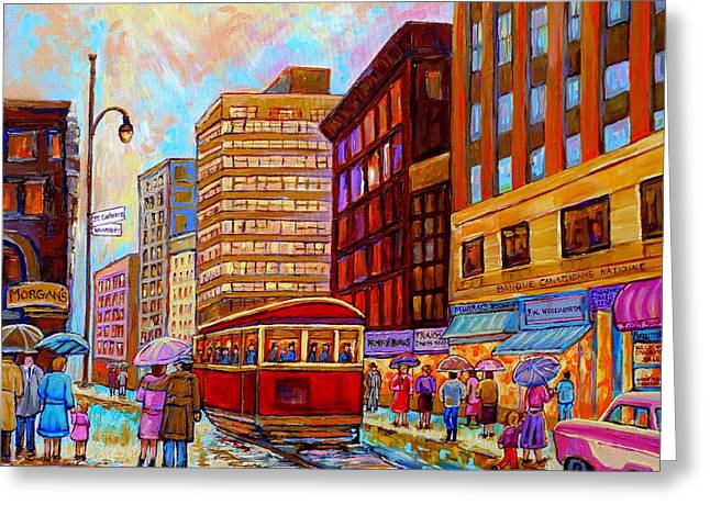 Ste Catherine Greeting Cards - Vintage Montreal St.catherine And University With Streetcar Greeting Card by Carole Spandau