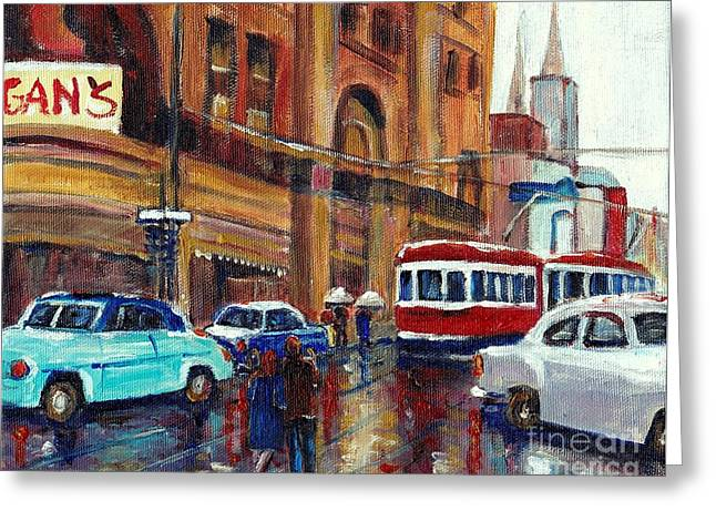 Ste Catherine Greeting Cards - Vintage Montreal Union And St.catherine Monrgans Department Store Greeting Card by Carole Spandau