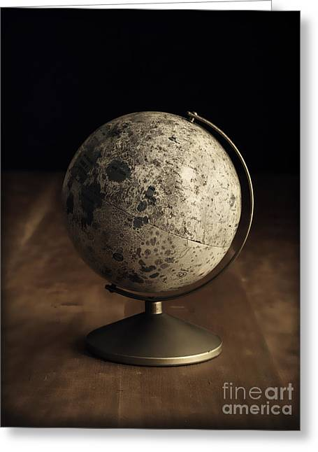 Classroom Greeting Cards - Vintage Moon Globe Greeting Card by Edward Fielding