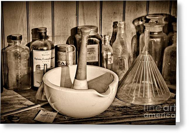 Medication Greeting Cards - Vintage Mortar and Pestle Greeting Card by Paul Ward