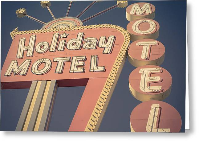 Signed Photographs Greeting Cards - Vintage Motel Sign Square Greeting Card by Edward Fielding