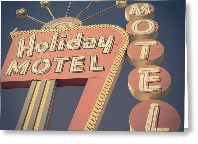 Vintage Motel Sign Square Greeting Card by Edward Fielding