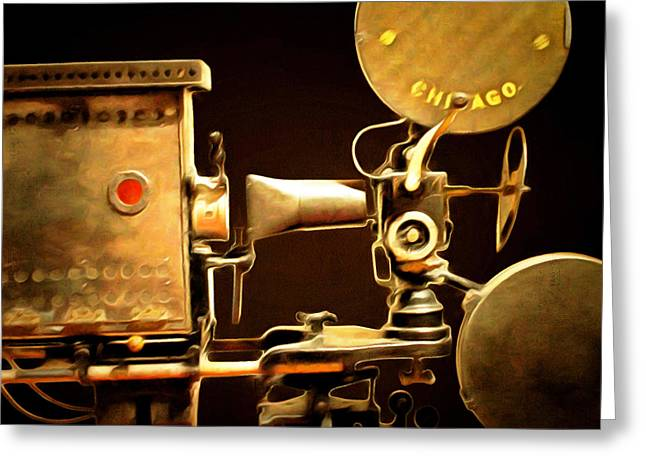 Lumiere Greeting Cards - Vintage Motion Picture Camera 7D13221 20150220 square Greeting Card by Wingsdomain Art and Photography