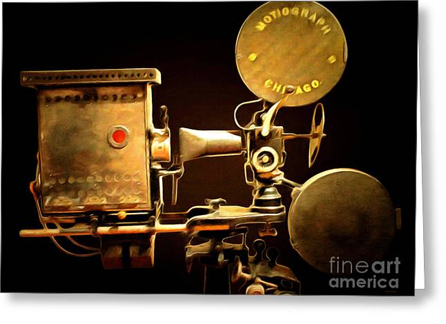 Lumiere Greeting Cards - Vintage Motion Picture Camera 7D13221 20150220 Greeting Card by Wingsdomain Art and Photography