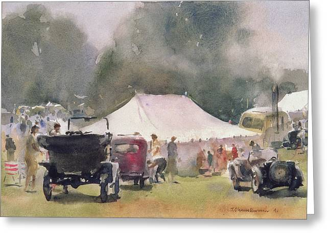 Tent Greeting Cards - Vintage Motor Rally, 1991 Wc On Paper Greeting Card by Trevor Chamberlain
