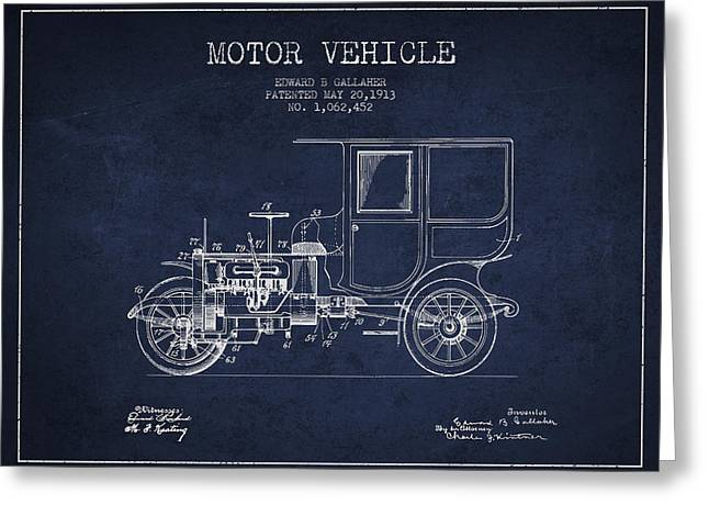 Driving Greeting Cards - Vintage Motor Vehicle patent from 1913 Greeting Card by Aged Pixel