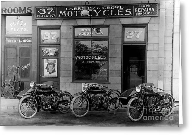 Vintage Motorcycle Dealership Greeting Card by Jon Neidert