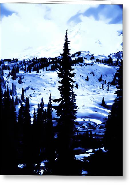 Vintage Mount Rainier With Camp Grounds In The Distance Early 1900 Era... Greeting Card by Eddie Eastwood
