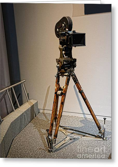 Big Screen Photographs Greeting Cards - Vintage Movie Camera on Tripod Greeting Card by Paul Ward