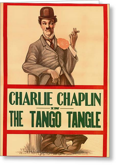 Chaplin Poster Greeting Cards - Vintage Movie Poster - Charlie Chaplin in the Tango Tangle 1914 Greeting Card by Mountain Dreams