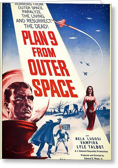 Outer Space Mixed Media Greeting Cards - Vintage Movie Poster - Plan 9 from Outer Space Greeting Card by Mountain Dreams