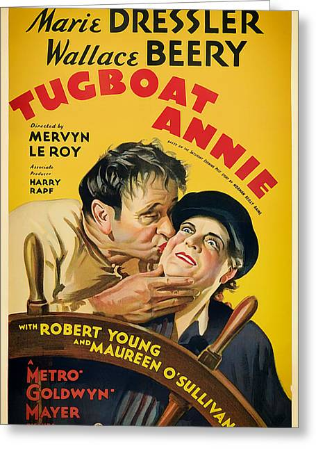 Lithograph Mixed Media Greeting Cards - Vintage Movie Poster - Tugboat Annie 1933 Greeting Card by Mountain Dreams