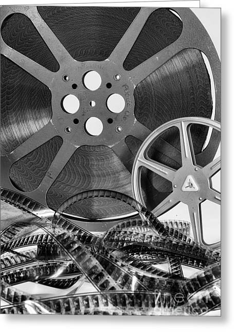 Home Theater Greeting Cards - Vintage Movie Reels Greeting Card by Paul Ward