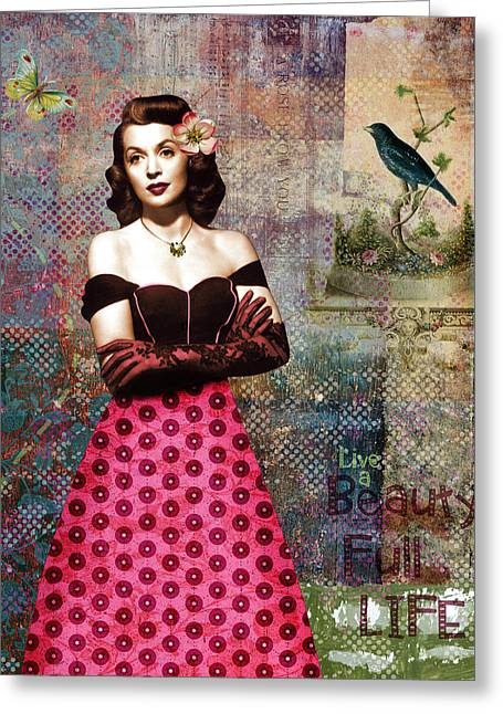 Lilli Greeting Cards - Vintage Movie Star Beauty Full Life Greeting Card by Cat Whipple