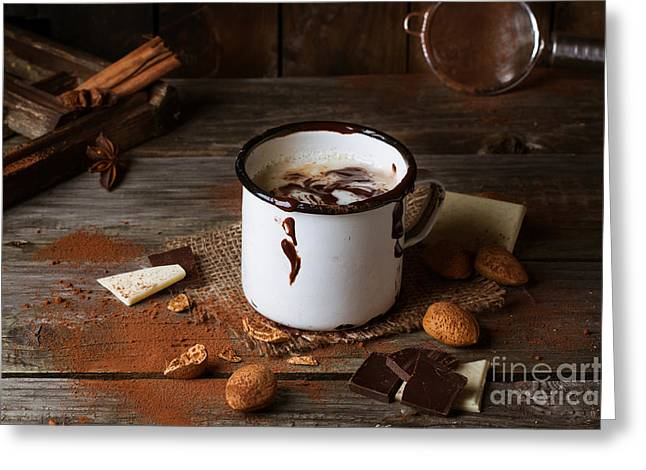 Breakfast Pyrography Greeting Cards - Vintage mug with hot chocolate Greeting Card by Natasha Breen