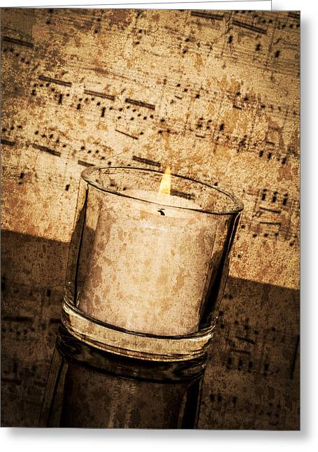 Candle Lit Greeting Cards - Vintage Music by Candlelight Greeting Card by Erin Cadigan