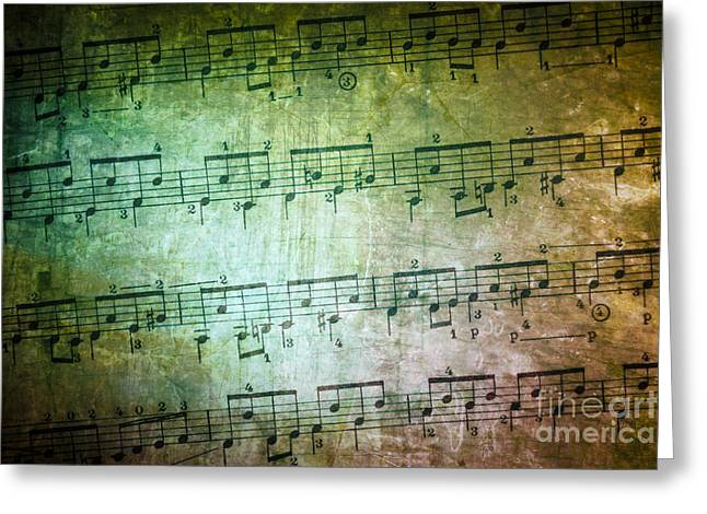 Clef Greeting Cards - Vintage Music Sheet Greeting Card by Carlos Caetano