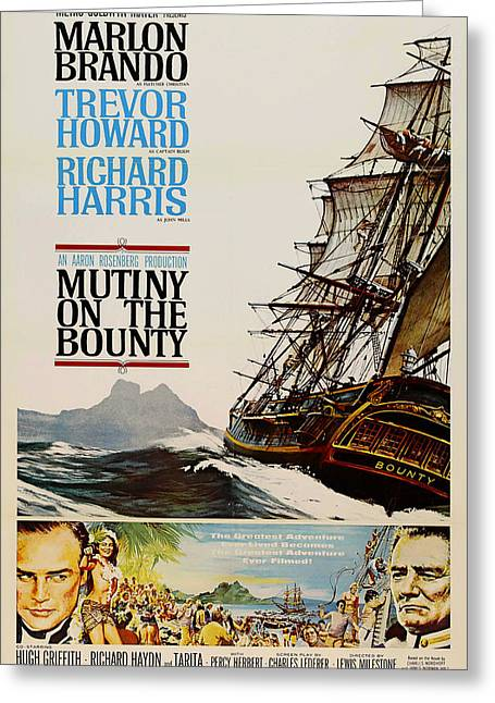 Marlon Brando Poster Greeting Cards - Vintage Mutiny on the Bounty Movie Poster 1962 Greeting Card by Mountain Dreams