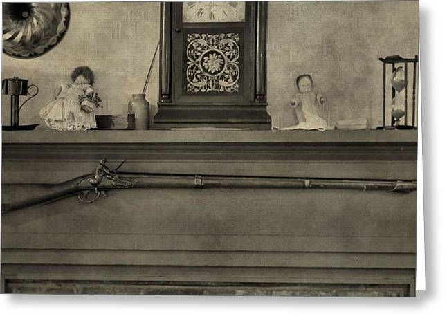 Remington Photographs Greeting Cards - Vintage Muzzleloader Over Fireplace Greeting Card by Dan Sproul