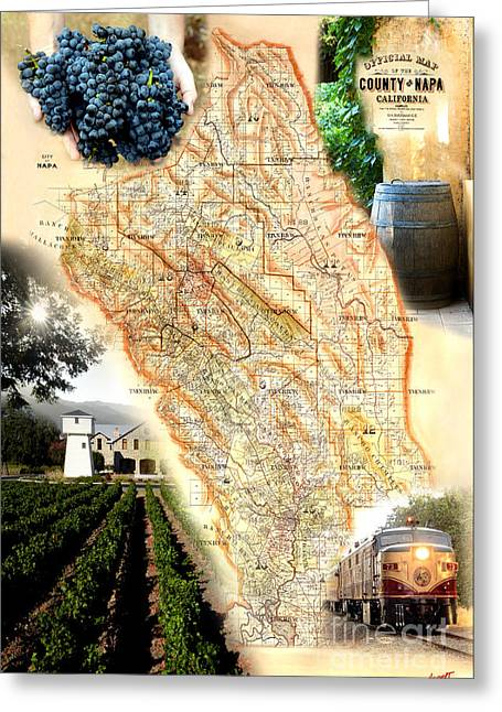 France Map Greeting Cards - Vintage Napa Valley Map Greeting Card by Jon Neidert