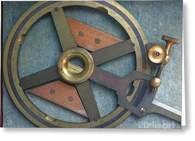 Number Circle Greeting Cards - Vintage Navigational Instrument Greeting Card by Yali Shi