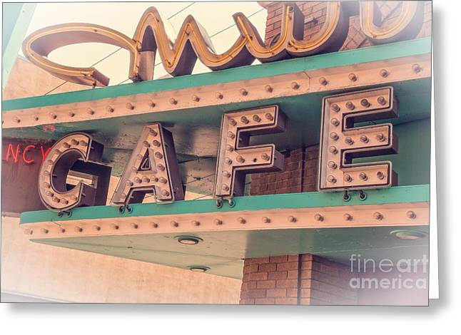 Best Seller Photographs Greeting Cards - Vintage Neon Cafe Sign Livingston Montana Greeting Card by Edward Fielding