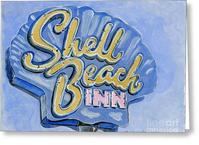 Shell Sign Paintings Greeting Cards - Vintage Neon- Shell Beach Inn Greeting Card by Sheryl Heatherly Hawkins