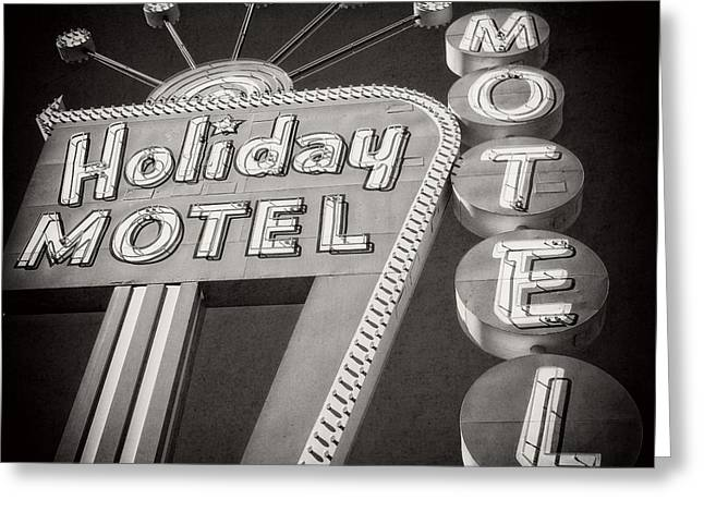 Dated Greeting Cards - Vintage Neon Sign Holiday Motel Las Vegas Nevada Greeting Card by Edward Fielding
