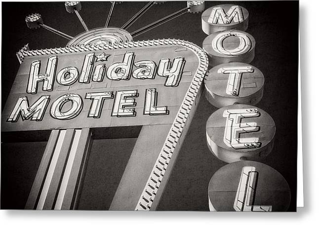 Vintage Neon Sign Holiday Motel Las Vegas Nevada Greeting Card by Edward Fielding
