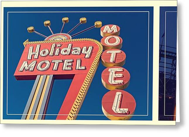 Amusements Greeting Cards - Vintage Neon Signs Trio Greeting Card by Edward Fielding