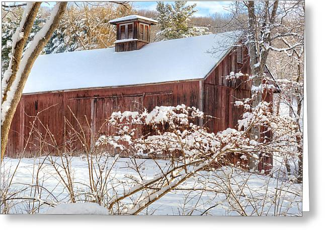 Red Barn In Winter Greeting Cards - Vintage New England Barn Greeting Card by Bill  Wakeley