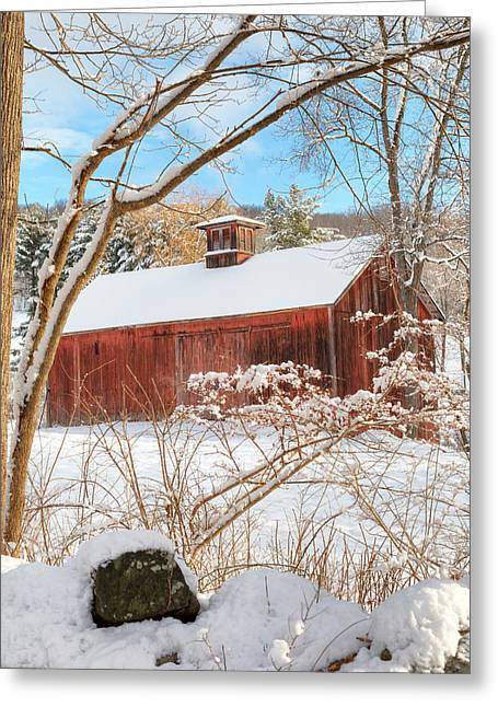 Red Barn In Winter Greeting Cards - Vintage New England Barn Portrait Greeting Card by Bill  Wakeley
