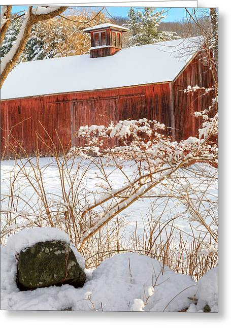 Red Barn In Winter Greeting Cards - Vintage New England Barn Portrait Square Greeting Card by Bill  Wakeley
