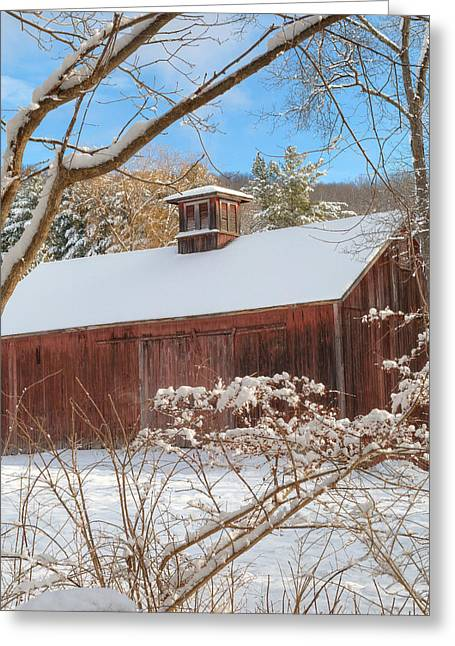 Red Barn In Winter Greeting Cards - Vintage New England Barn Square Greeting Card by Bill  Wakeley