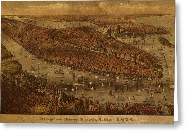 Manhattan Mixed Media Greeting Cards - Vintage New York City Manhattan NYC in 1875 City Map On Worn Canvas Greeting Card by Design Turnpike