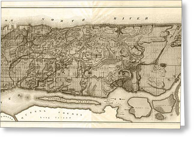 Fort George Greeting Cards - Vintage New York City Topographical Map - Sepia Greeting Card by Stephen Stookey