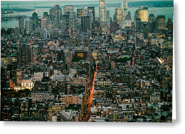 The City That Never Sleeps Greeting Cards - Vintage New York Skyline Greeting Card by Silvio Ligutti