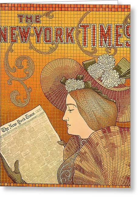 Lithograph Mixed Media Greeting Cards - Vintage New York Times Advertisement 1895  Greeting Card by Mountain Dreams