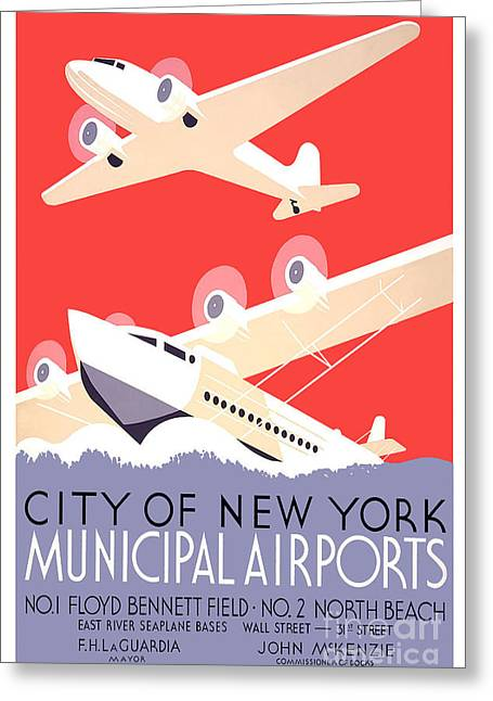 Vintage Airplane Greeting Cards - Vintage New York Travel Poster Greeting Card by Jon Neidert