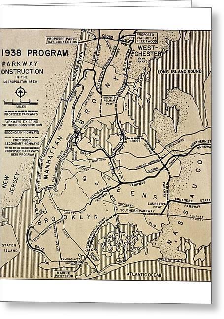 Vintage Newspaper Map Greeting Card by Susan Leggett