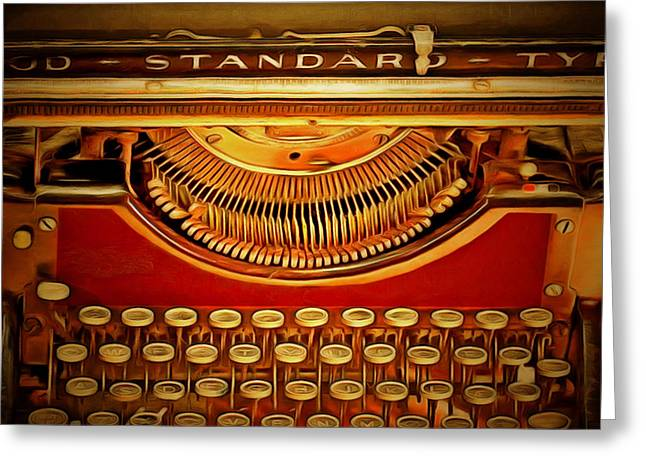 Typewriter Greeting Cards - Vintage Nostalgic Typewriter 20150228v2 square Greeting Card by Wingsdomain Art and Photography