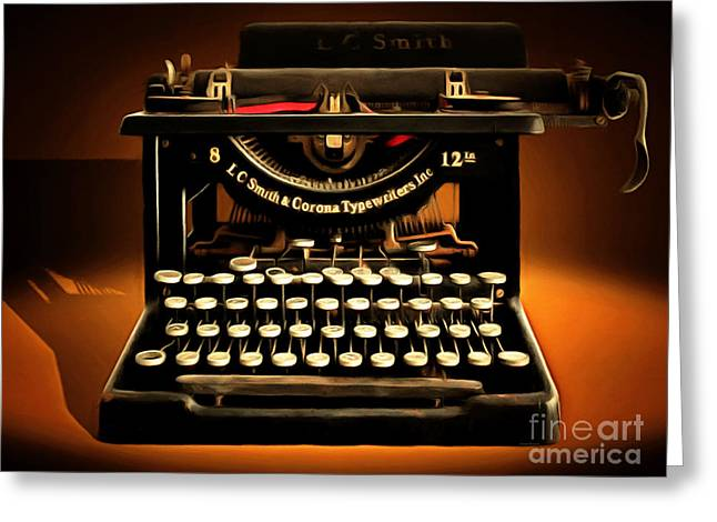 Typewriter Keys Greeting Cards - Vintage Nostalgic Typewriter 20150302 Greeting Card by Wingsdomain Art and Photography