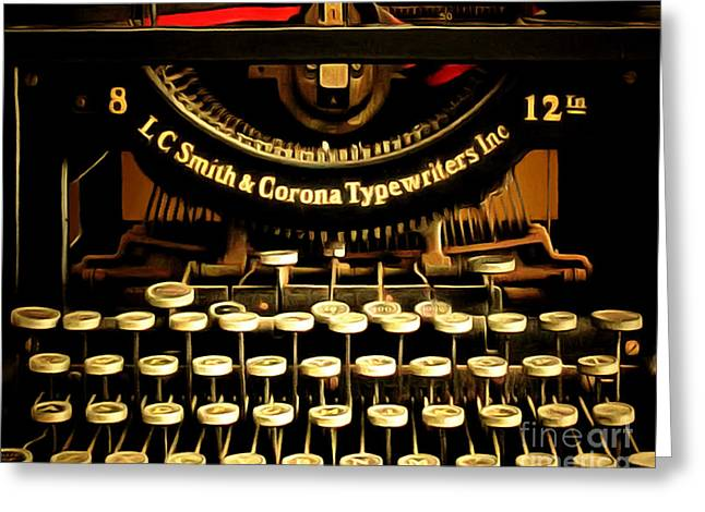 Typewriter Keys Greeting Cards - Vintage Nostalgic Typewriter 20150302n2 horizontal Greeting Card by Wingsdomain Art and Photography