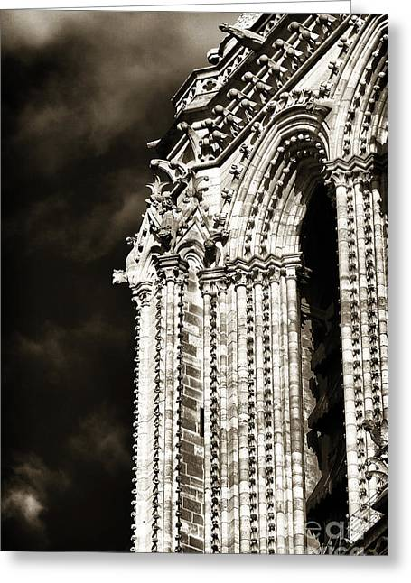 Brown Toned Art Greeting Cards - Vintage Notre Dame Details Greeting Card by John Rizzuto