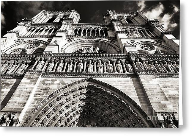 Brown Toned Art Greeting Cards - Vintage Notre Dame Greeting Card by John Rizzuto
