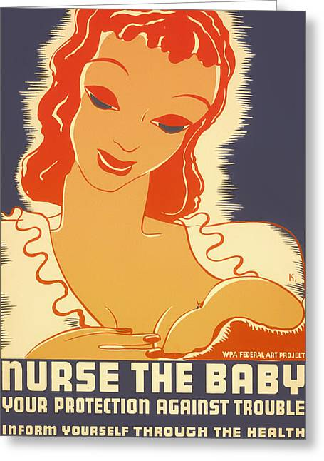 Signed Drawings Greeting Cards - Vintage Nurse the Baby Poster Greeting Card by Mountain Dreams
